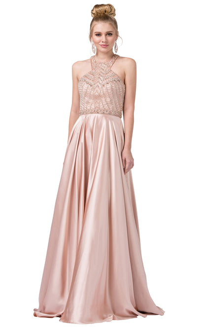 Dancing Queen - 2518 Embellished Halter Neck A-Line Gown In Pink