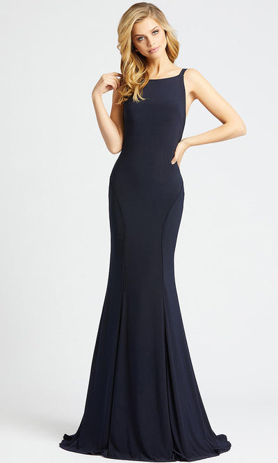 Mac Duggal - 25220L Backless Stretch Jersey Evening Gown In Blue