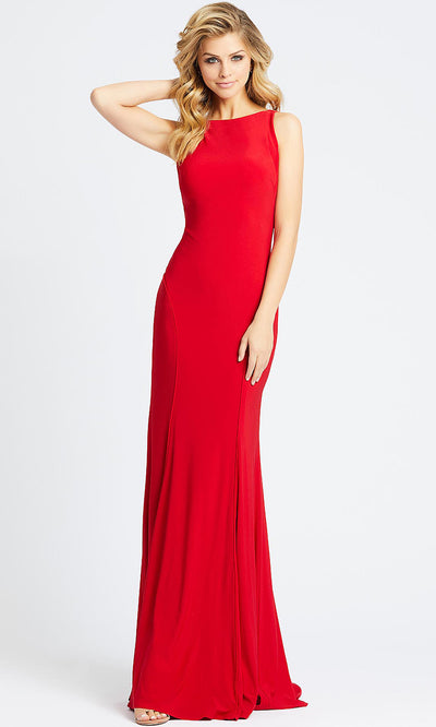 Mac Duggal - 25220L Backless Stretch Jersey Evening Gown In Red