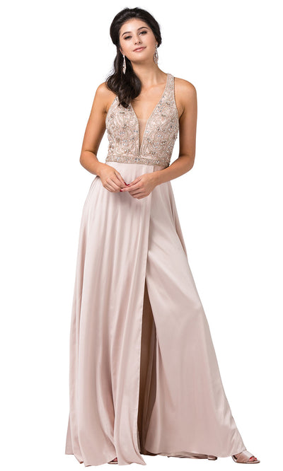 Dancing Queen - 2527 Beaded Crisscross Strapped A-Line Dress In Champagne & Gold