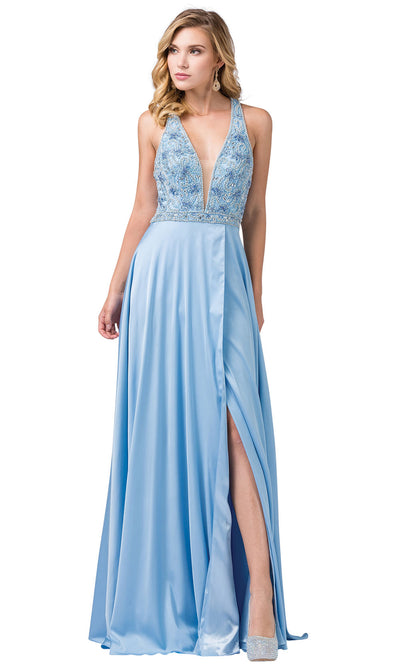 Dancing Queen - 2527 Beaded Crisscross Strapped A-Line Dress In Blue
