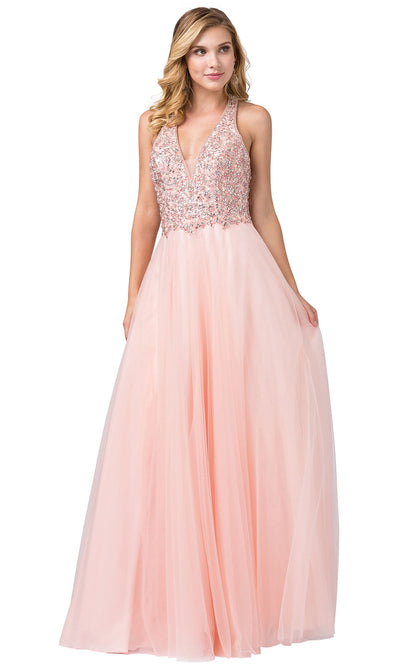 Dancing Queen - 2532 Embellished Deep V Neck A-Line Gown In Pink