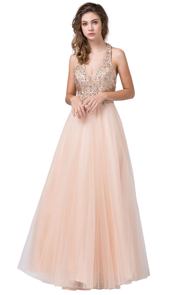 Dancing Queen - 2532 Embellished Deep V Neck A-Line Gown In Neutral