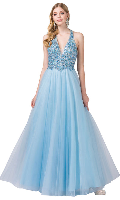 Dancing Queen - 2532 Embellished Deep V Neck A-Line Gown In Blue