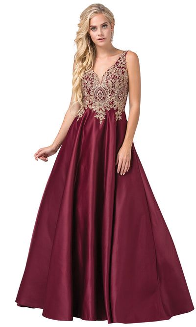 Dancing Queen - 2533 Embroidered V Neck A-Line Dress In Red