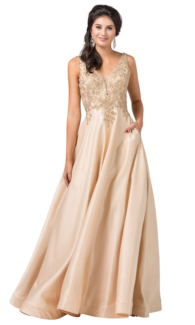 Dancing Queen - 2533 Embroidered V Neck A-Line Dress In Neutral