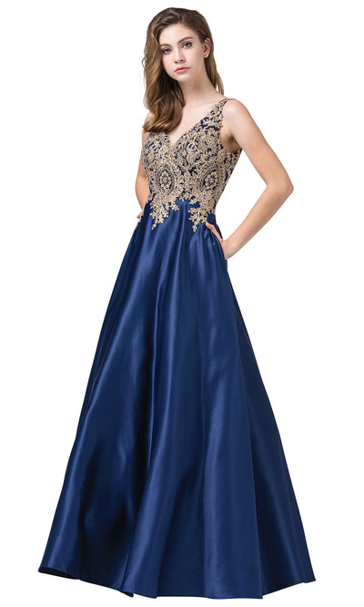 Dancing Queen - 2533 Embroidered V Neck A-Line Dress In Blue