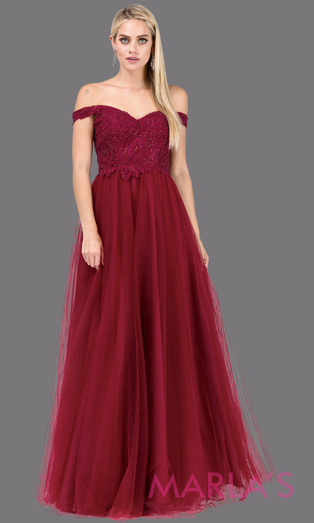 f91afeb20b38 Long Off Shoulder Burgundy Red Flowy Tulle Dress w  Lace Top   Illusion  Back – Marla s Fashions