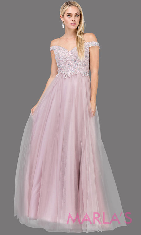92a6b98779 Tatiana Long Off Shoulder Flowy Tulle Dress with Lace Top