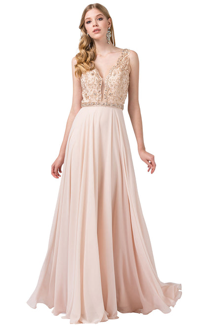 Dancing Queen - 2552 Scalloped Embroidered A-Line Dress In Champagne & Gold