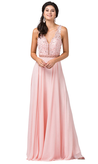 Dancing Queen - 2552 Scalloped Embroidered A-Line Dress In Pink