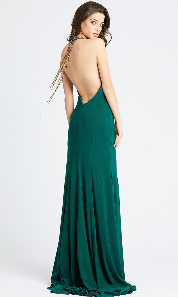 Mac Duggal - 25572L Beaded Halter Neck High Slit Gown In Green