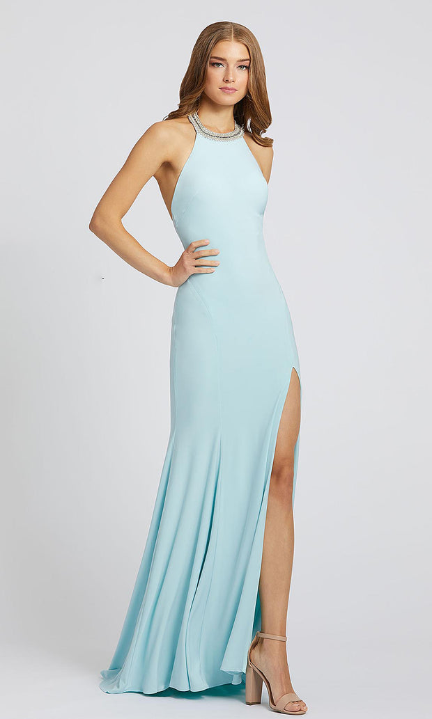 Mac Duggal - 25572L Beaded Halter Neck High Slit Gown In Blue