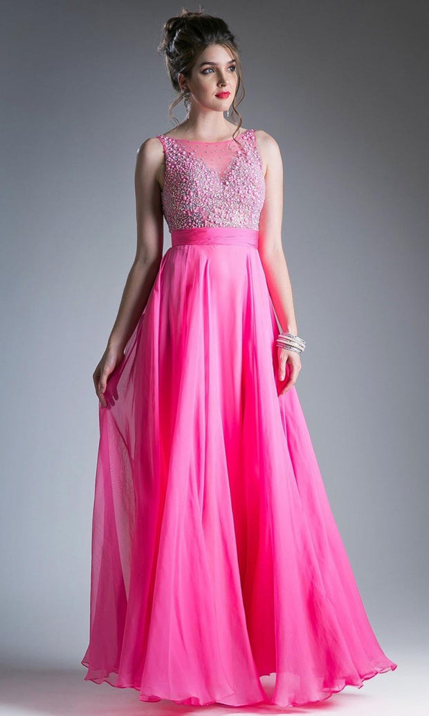 Cinderella Divine - C255 Fully Beaded Bodice A-Line Gown In Pink