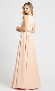 Mac Duggal - 25608L Bateau Neck Stretch Crepe Gown In Pink