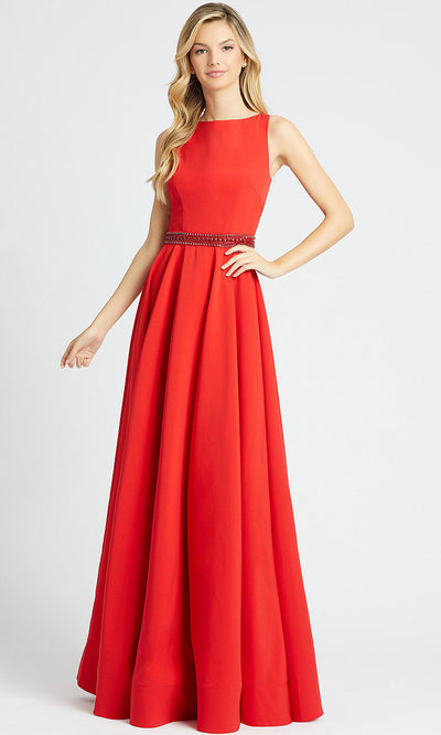 Mac Duggal - 25608L Bateau Neck Stretch Crepe Gown In Red
