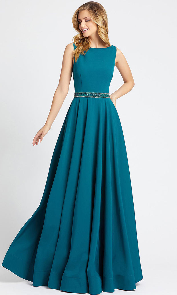 Mac Duggal - 25608L Bateau Neck Stretch Crepe Gown In Blue
