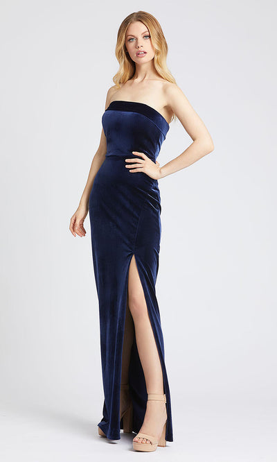 Mac Duggal - 25635L Strapless Velvet Evening Dress With Slit In Blue