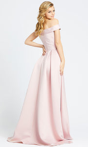 Mac Duggal - 25669L Off Shoulder Vibrant Satin A-Line Gown In Pink