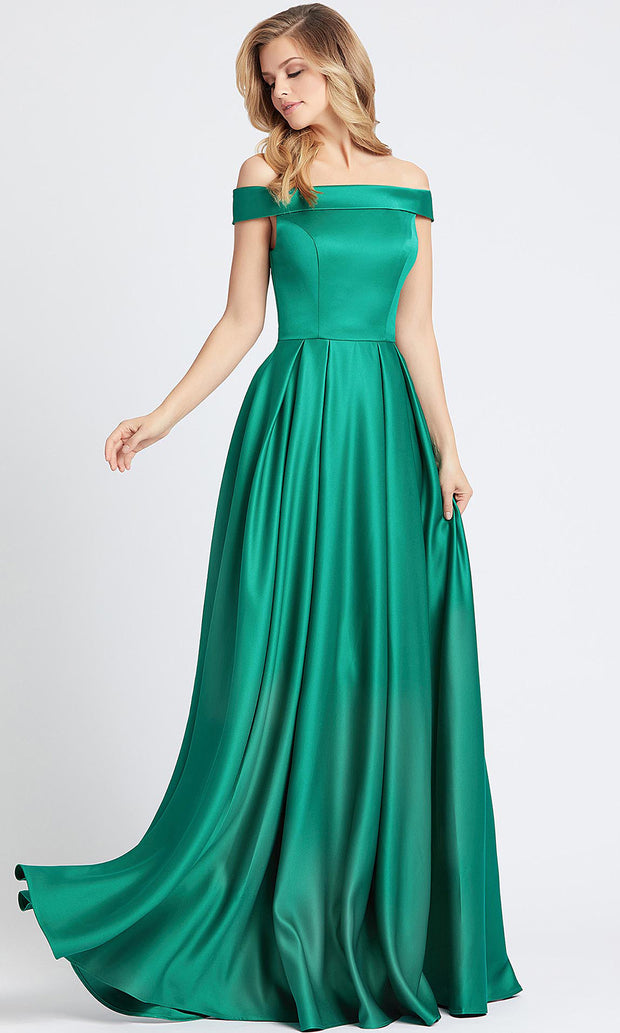 Mac Duggal - 25669L Off Shoulder Vibrant Satin A-Line Gown in Green