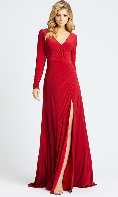 Mac Duggal - 25685I Long Sleeve Jersey Wrap High Slit Gown In Red