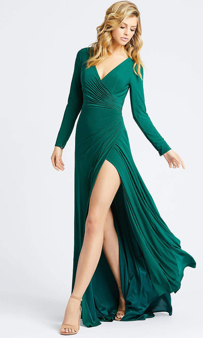 Mac Duggal - 25685I Long Sleeve Jersey Wrap High Slit Gown In Green