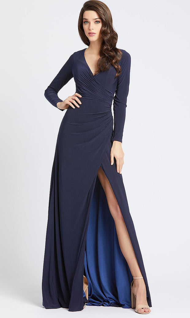 Mac Duggal - 25685I Long Sleeve Jersey Wrap High Slit Gown In Blue