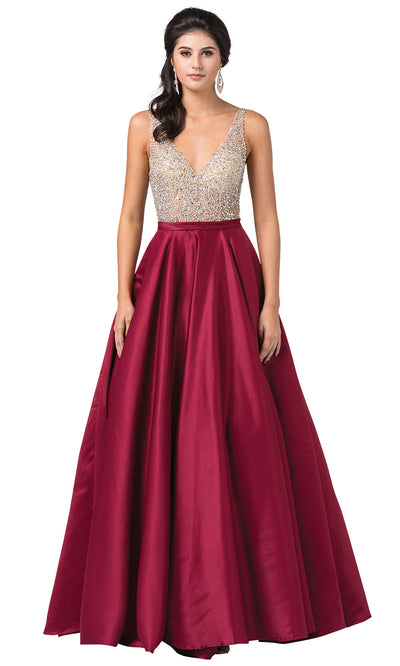 Dancing Queen - 2568 Beaded Bodice Open Back A-Line Gown In Burgundy