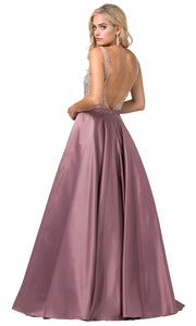 Dancing Queen - 2568 Beaded Bodice Open Back A-Line Gown In Mauve