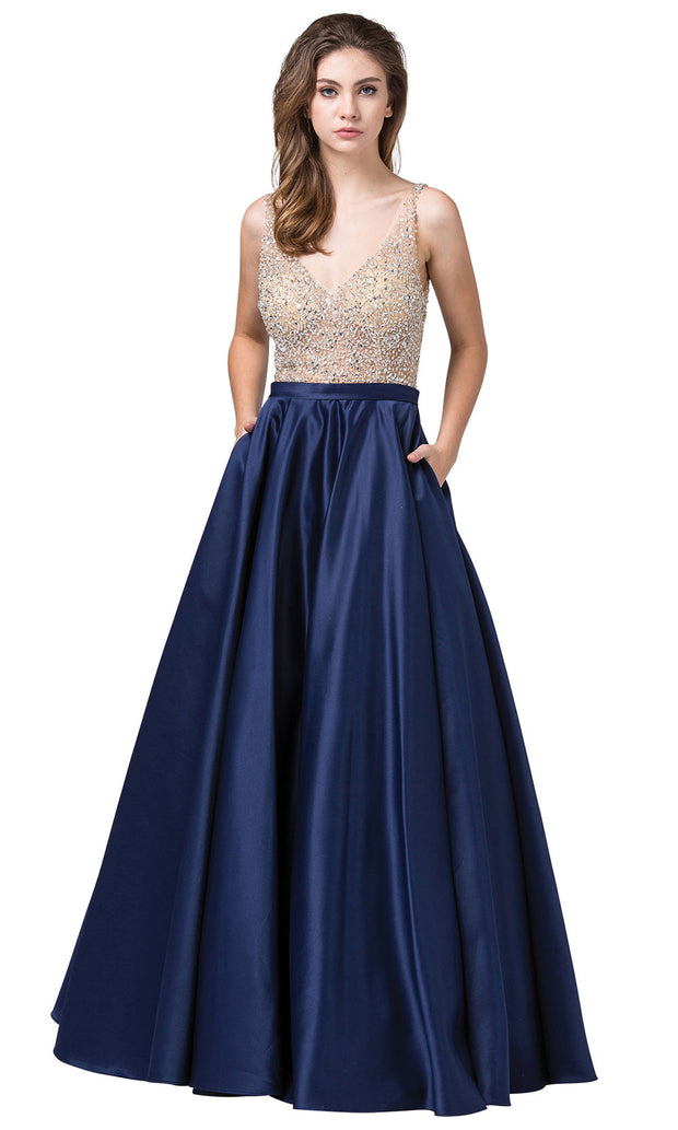 Dancing Queen - 2568 Beaded Bodice Open Back A-Line Gown In Blue