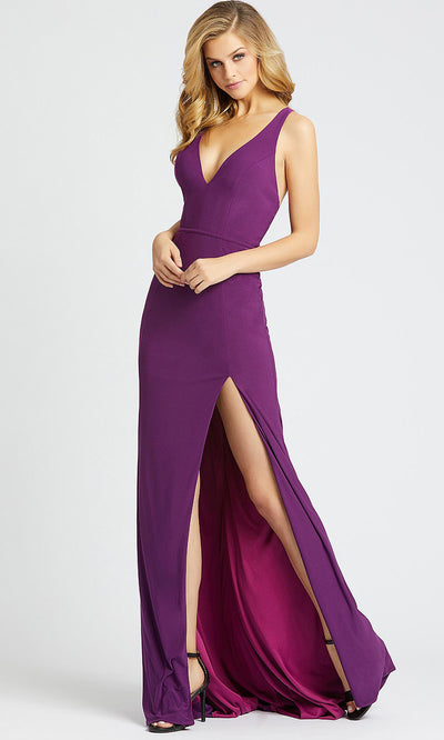Mac Duggal - 25846I V Neck Open Back High Slit Evening Dress In Purple