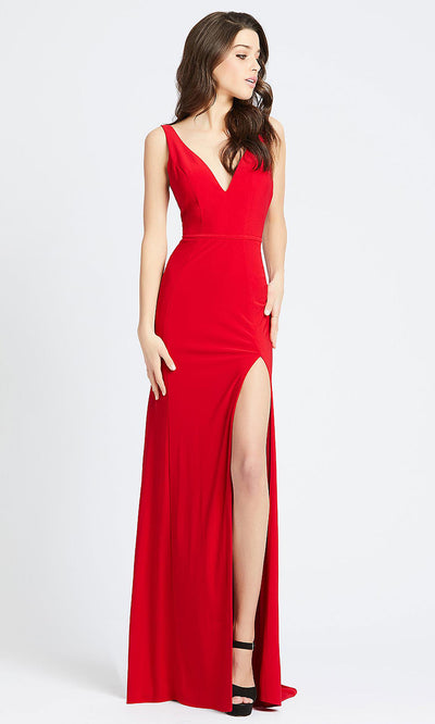 Mac Duggal - 25846I V Neck Open Back High Slit Evening Dress In Red