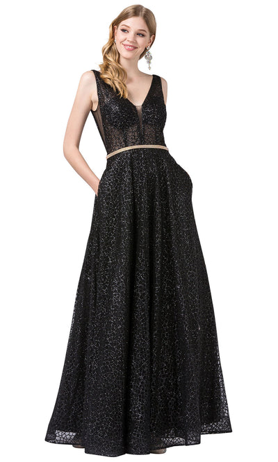 Dancing Queen - 2593 Illusion Bodice Glitter Mesh A-Line Gown In Black