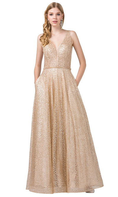 Dancing Queen - 2593 Illusion Bodice Glitter Mesh A-Line Gown In Champagne & Gold