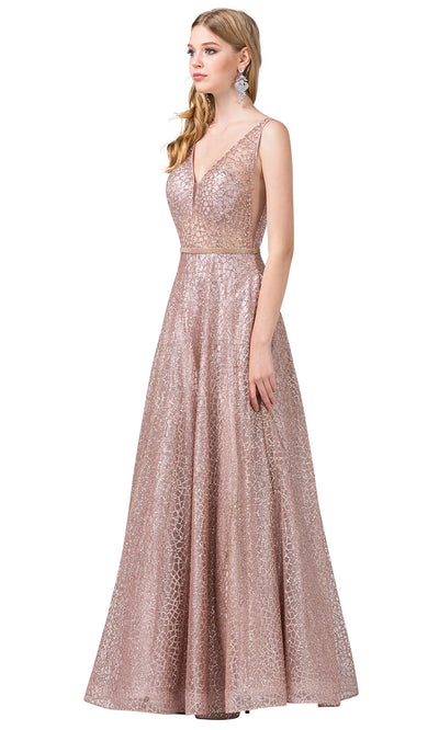 Dancing Queen - 2593 Illusion Bodice Glitter Mesh A-Line Gown In Pink