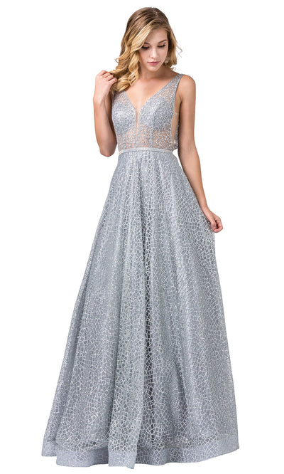 Dancing Queen - 2593 Illusion Bodice Glitter Mesh A-Line Gown In Silver & Gray