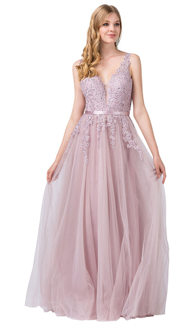 Dancing Queen - 2596 Embroidered Deep V Neck A-Line Gown In Pink