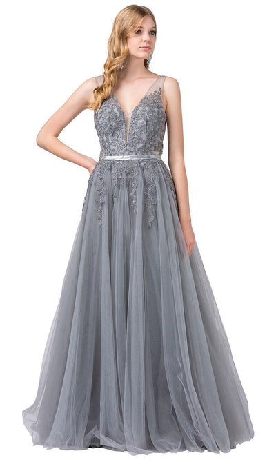 Dancing Queen - 2596 Embroidered Deep V Neck A-Line Gown In Silver