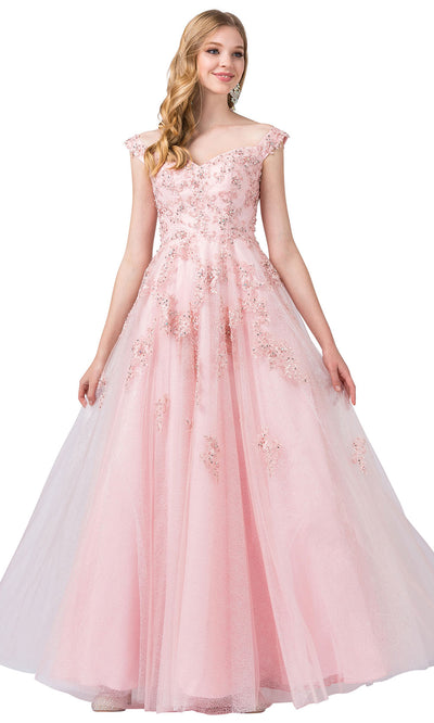 Dancing Queen - 2600 Embroidered Cap Sleeve V Neck A-Line Gown In Pink