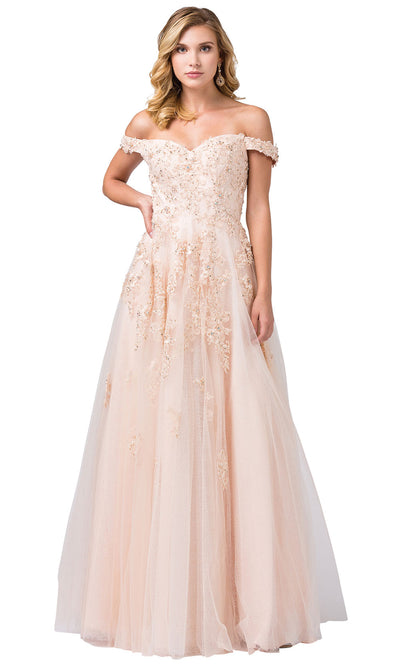 Dancing Queen - 2600 Embroidered Cap Sleeve V Neck A-Line Gown In Neutral