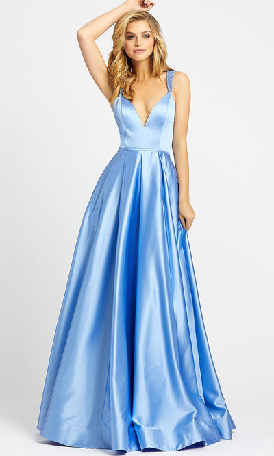 Mac Duggal - 26053I Beaded Crisscross Strap Back Satin Gown In Blue