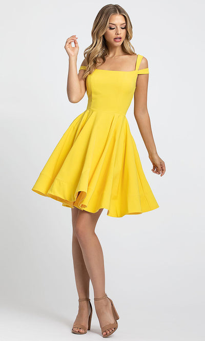 Mac Duggal - 26077I Cut-In Shoulders Fit And Flare Dress In Yellow