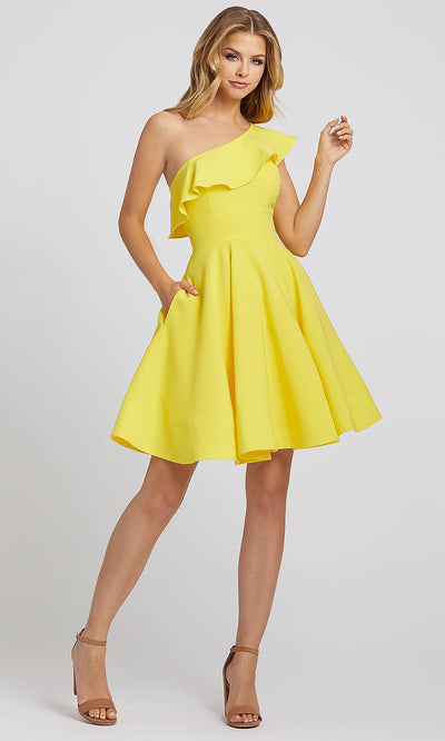 Mac Duggal - 26099I Ruffle Draped One Shoulder A-Line Dress In Yellow