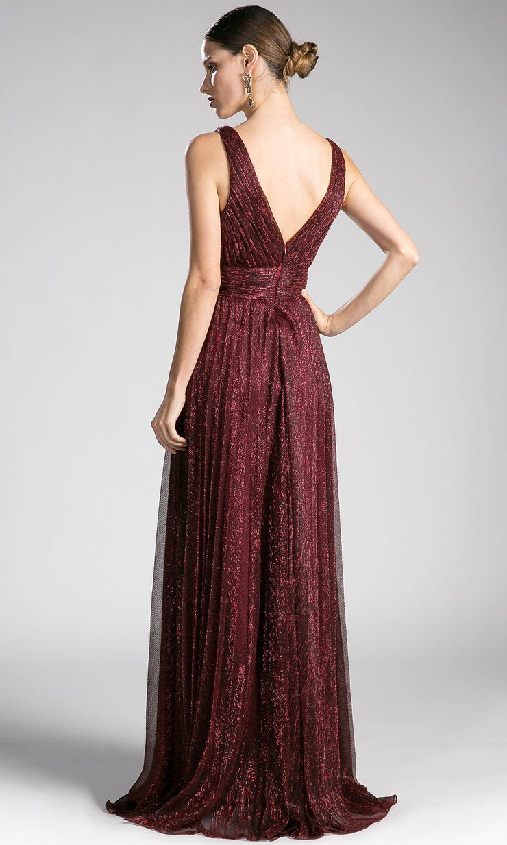 Back of Long burgundy red flowy crinkle dress with v neck.This low cut v neck is sleek and sexy with a-line skirt. Perfect dark red dress for bridesmaid dresses,gala, wedding guest dress,evening formal party.Plus sizes avail