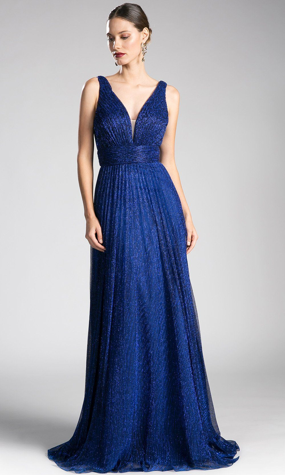 Long royal blue flowy crinkle dress with v neck.This low cut v neck is sleek and sexy with a-line skirt. Perfect dark blue dress for bridesmaid dresses,gala, wedding guest dress,evening formal party.Plus sizes avail