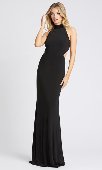 Mac Duggal - 26118I High Neck Fitted Jersey Evening Dress In Black