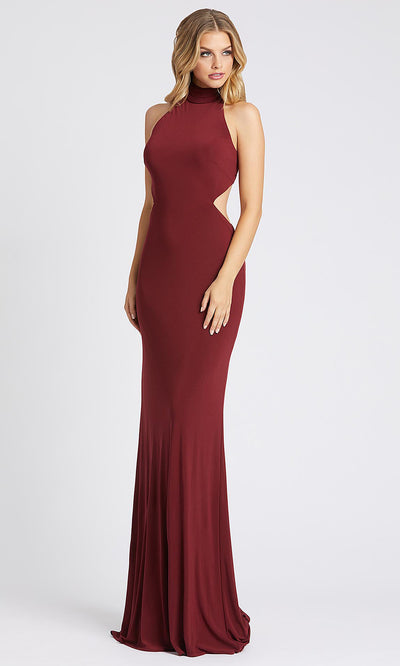 Mac Duggal - 26118I High Neck Fitted Jersey Evening Dress In Burgundy