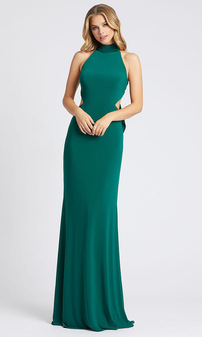Mac Duggal - 26118I High Neck Fitted Jersey Evening Dress In Green