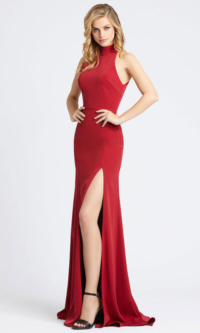 Mac Duggal - 26127I Ruched High Neck Sheath Evening Dress In Burgundy