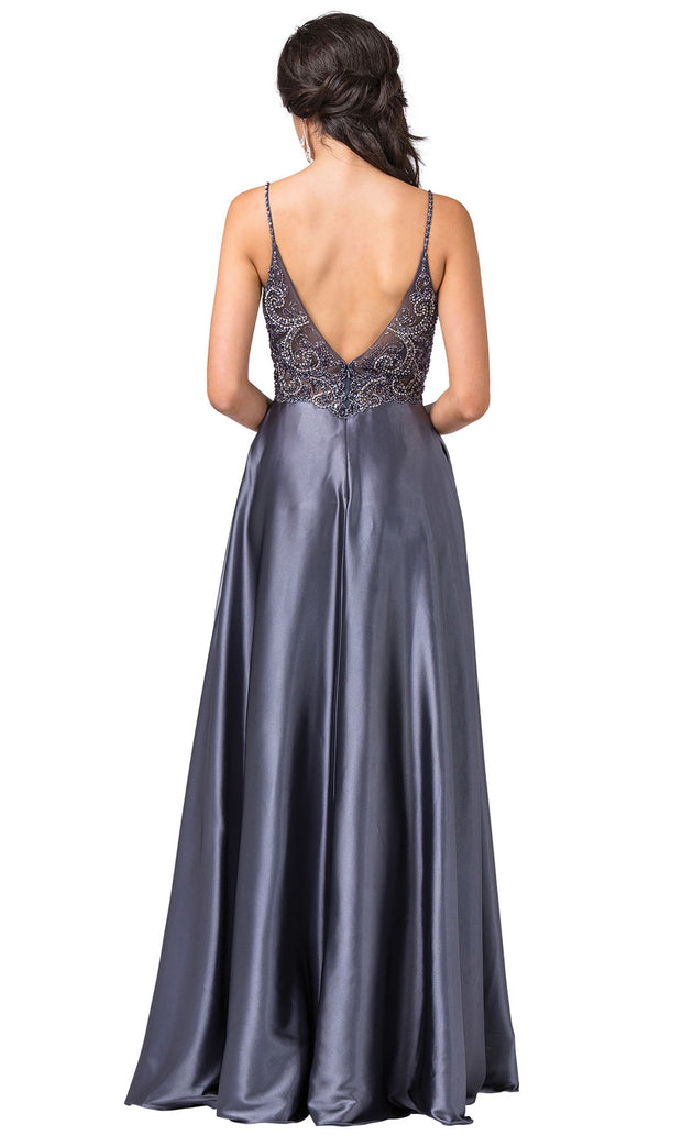 Dancing Queen - 2614 Embellished V Neck Long A-Line Gown In Gray